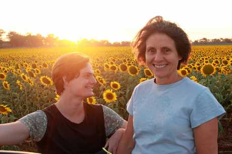Warwick residents Joseph Faa and Elia Faa were enjoyed a sunset taking in the Hoey's sunflower field.