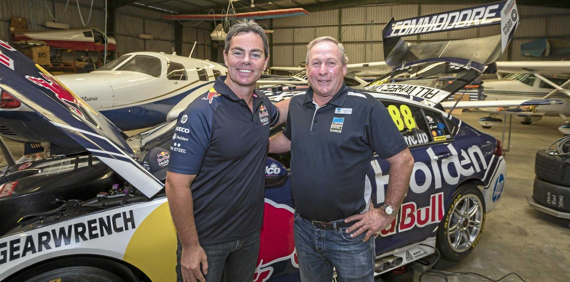 COMMUNITY SPIRIT: Craig Lowndes and Mayor Paul McVeigh with the new 2019 Commodore Supercar.