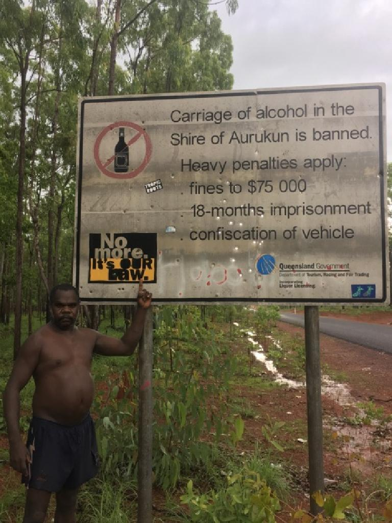 Aurukun residents have found a road sign used as target practice.