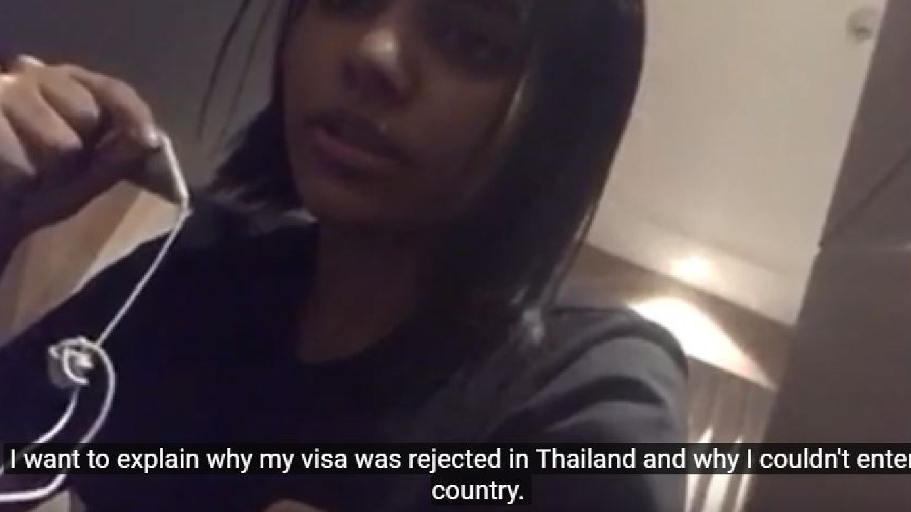 Saudi woman Rahaf Mohammed Alqunun has been posting video updates on Twitter and Youtube after she was held at an airport in Bangkok while attempting to travel to Australia. Picture: YouTube