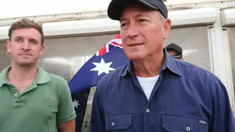Senator Fraser Anning at the protest. Picture: Kenji Wardenclyffe/Wardenclyffe Photography/AAP