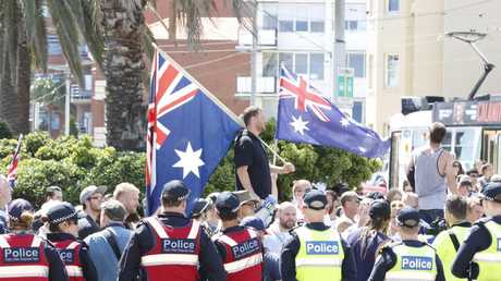 Far right extremists clashed with counter protesters at a tense rally on Saturday. Picture: Matrix