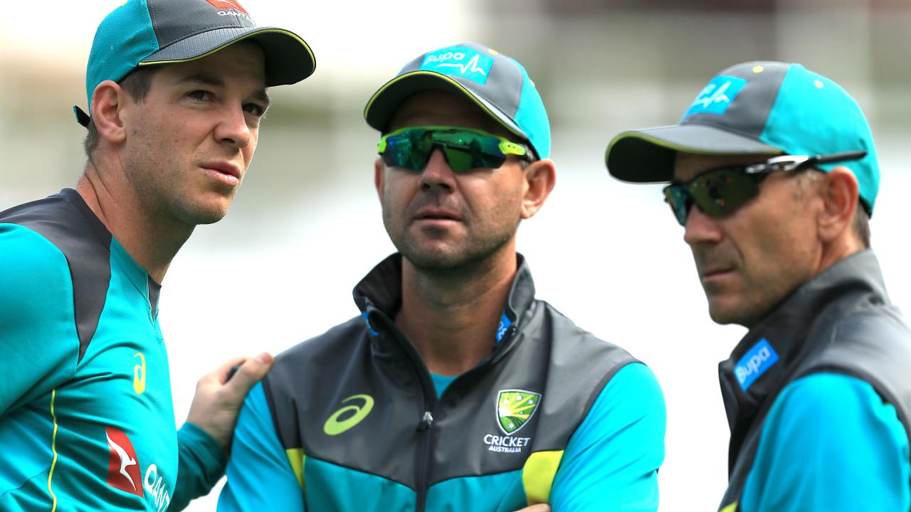 Ricky Ponting with captain Tim Paine and coach Justin Langer.