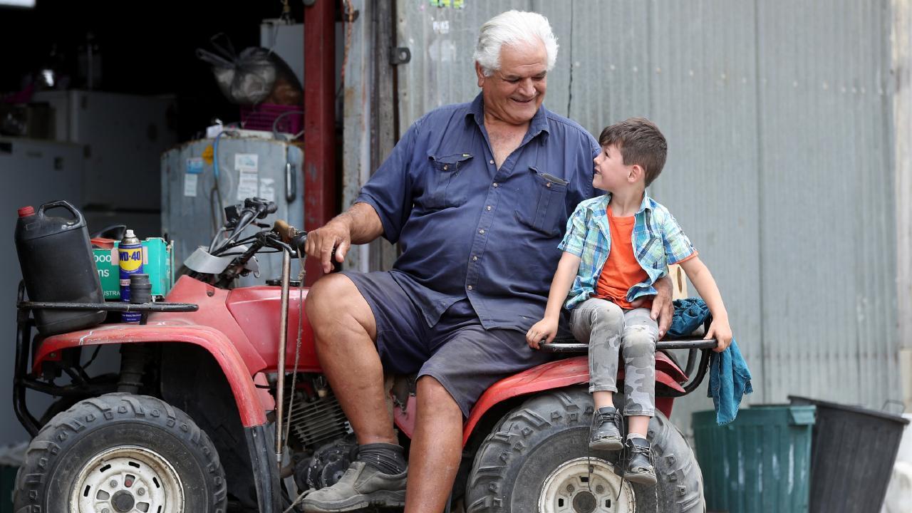 Cameron Calvisi with his grandfather Antonio. Picture: Tara Croser
