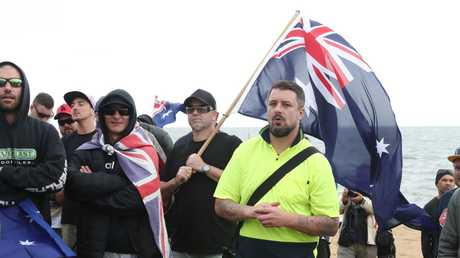 Far-right wing extremist Neil Erikson at his 'patriots' rally in Melbourne on Saturday. Picture: AAP