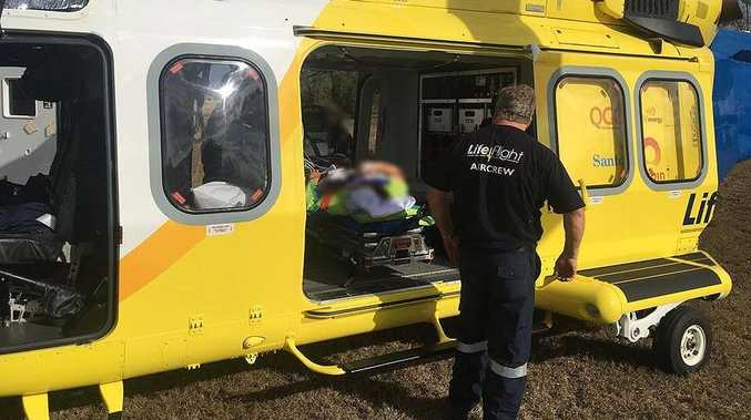 RACQ LifeFlight airlifts a boy in a serious condition after he was kicked in the head by a horse at Bowenville near Toowoomba.