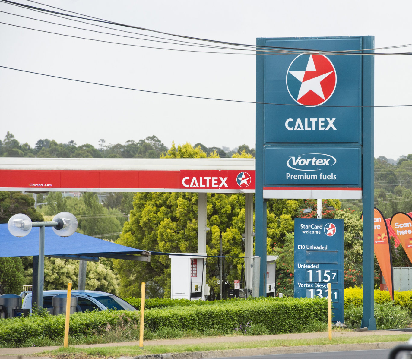 The man is accused of holding up the Caltex service station while armed with a knife.