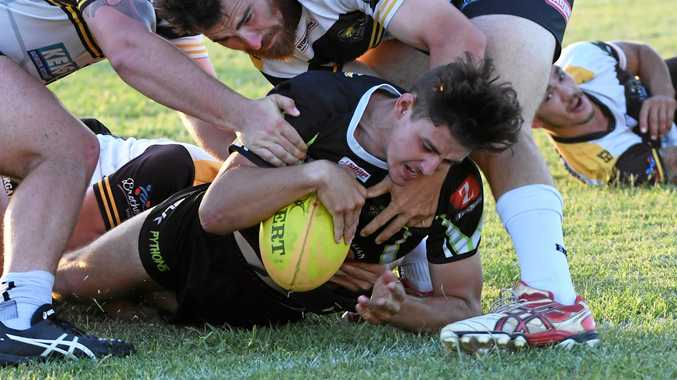 Bundbaerg Pythons player Trent Seeds scores a try in their win over Turtles Brothers.