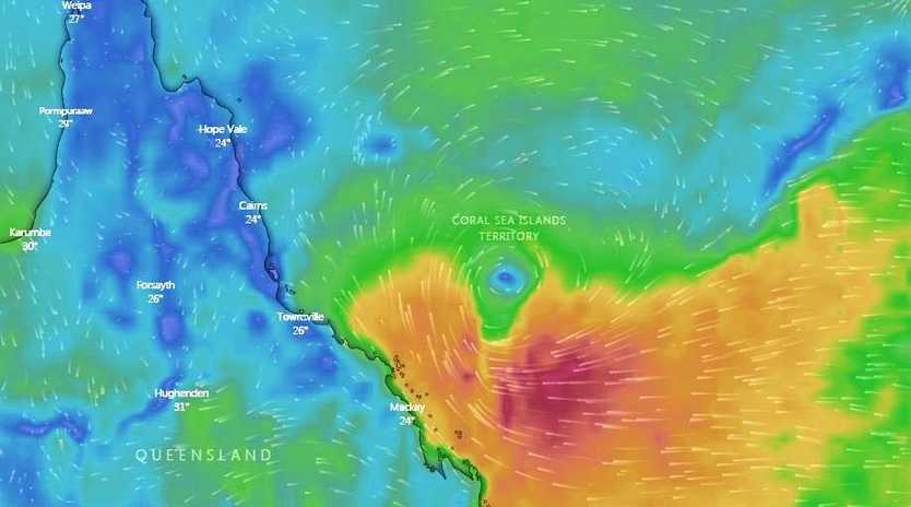 Ex-Tropical Cyclone Penny winds pictured at 6.30am Tuesday.