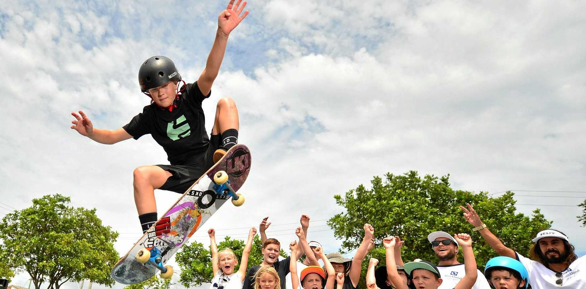SHRED: Queensland Women's Champion skateboarder Haylie Powell has been on hand to help out fellow skaters at the pop-up skate park in Caloundra.