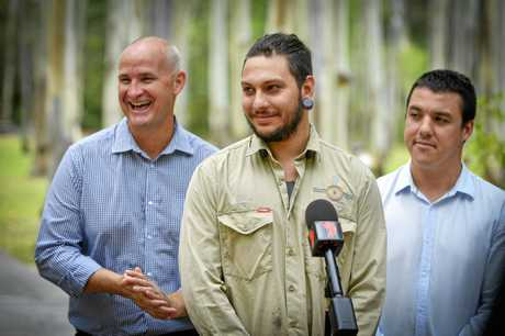 BIG BOOST: Gidarjil's Codey Stow, Federal Labor candidate Zac Beers and Member for Gladstone Glenn Butcher.