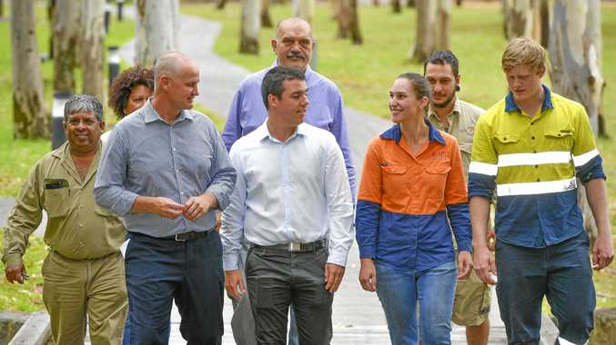 JOBS: Recipients from Gidarjil Development Greg Appo, Joice Pinel and Codey Stow,Federal Labor candidate Zac Beers and Member for Gladstone Glenn Butcher, Sarah Dollery and Billy Johnstone from Gladstone Engineering Alliance.