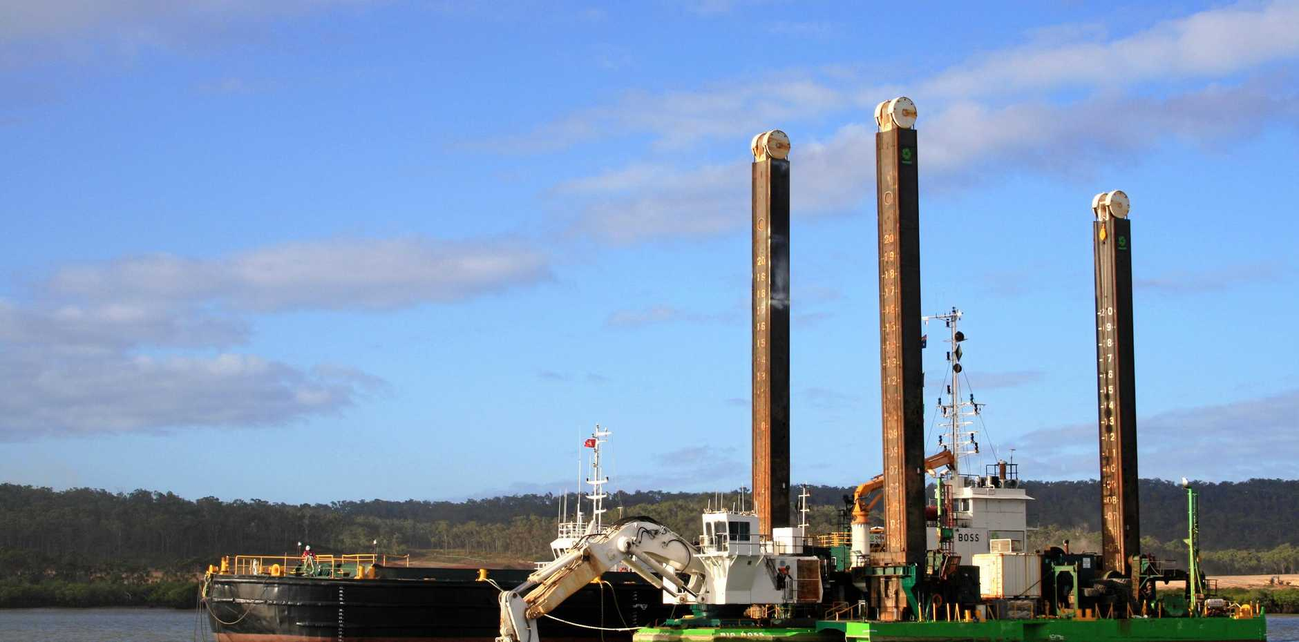 LEGAL ACTION: The dredging machine in the Gladstone Harbour undertaking dredging in 2011.