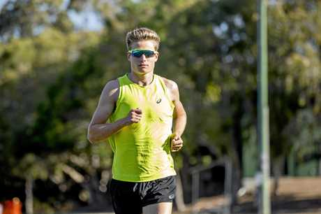 Commonwealth Games gold medal winning triathlete Matt Hauser has just returned to training following a collision with a car a few months ago whilst on a training ride. Picture: Jerad Williams