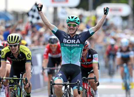 Cadel Evans Road Race in Geelong.   Jay McCarthy of team Bora-Hansgrohe with the bunch sprint to win the Cadel Evans Great Ocean Road Race    .Pic: Michael Klein