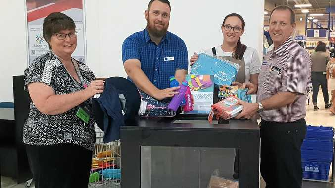 OPERATION BACKPACK: Jenny Badrick from Best & Less, Matt Sauer from Big W, Kathryn Franz from Brumby's Bakery and John Robinson from Robinson's News & Gifts get behind Operation Backpack.