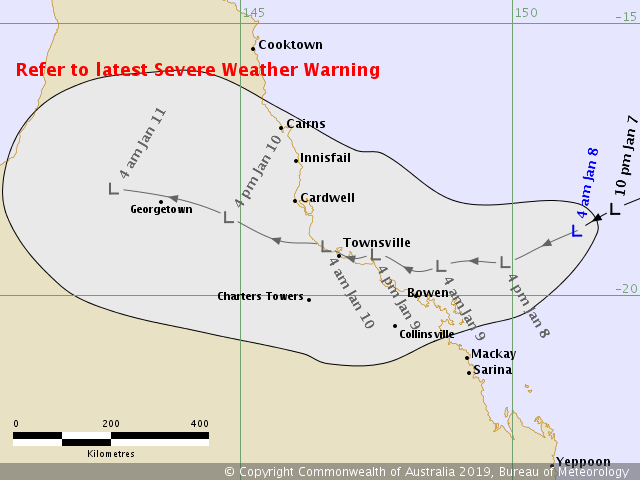 Ex cyclone Penny tracking map Issued at 4:57 am AEST Tuesday 8 January 2019.