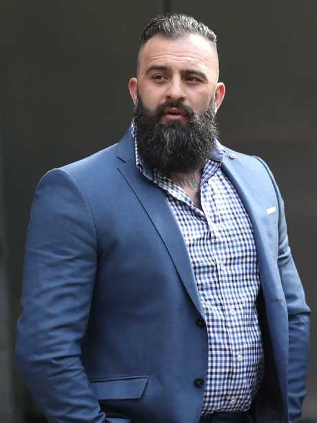 Bikie Robert Ale arrives at the Melbourne County Court last month. Picture: David Crosling