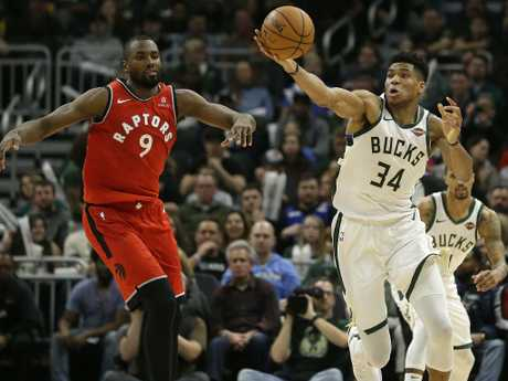 Milwaukee Bucks' Giannis Antetokounmpo steals the ball from Toronto Raptors' Serge Ibaka during the second half of an NBA basketball game at the weekend.