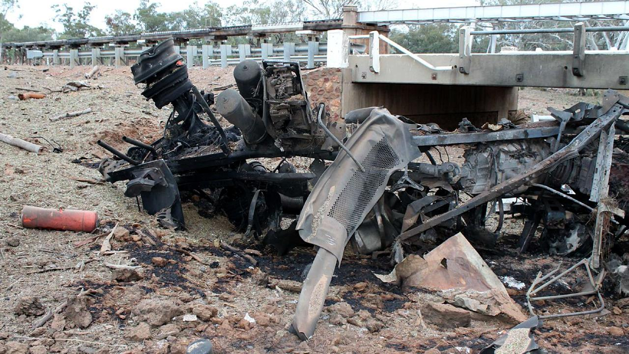 Eight people were injured and the truck, two fire trucks, and a police car were destroyed in the second, larger explosion, which was estimated to be the equivalent of detonating 15 tonnes of TNT.