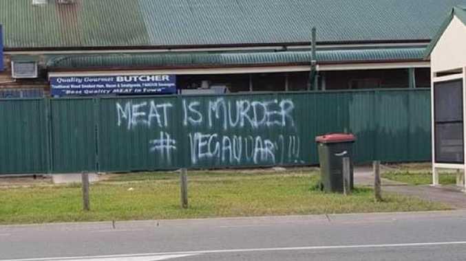 Vigilante vegans vandal The Bellmere Butcher with graffiti.