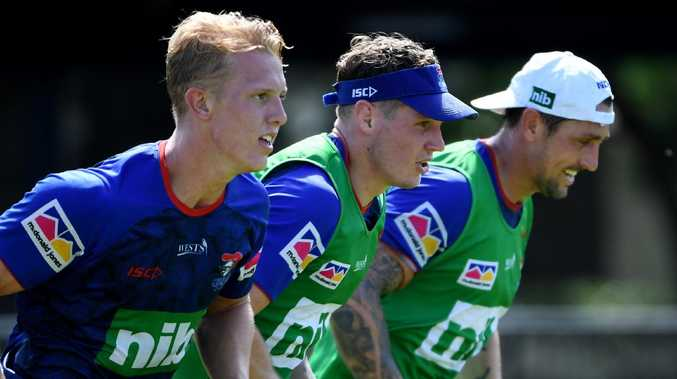 The Knights' Phoenix Crossland, Kurt Mann, Mitchell Pearce train  in Newcastle. Picture: Tracey Nearmy/Daily Telegraph