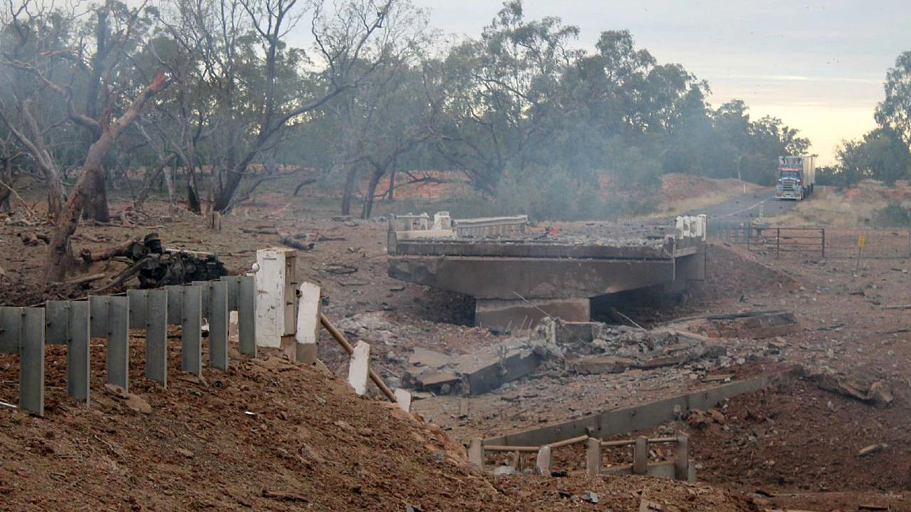 The scene of the Charleville truck explosion in 2014.