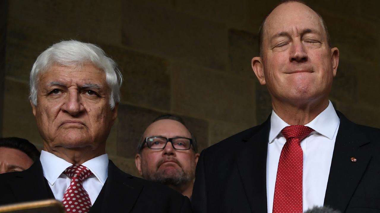 Senator Fraser Anning (right) with Bob Katter. Picture: AAP
