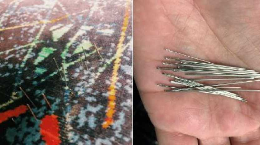 The man felt the needles when he sat on the train seat this morning in Melbourne.
