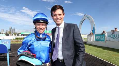 EXHILARATES jockey Kerrin McEvoy with trainer James Cummings. Photo by Richard Gosling