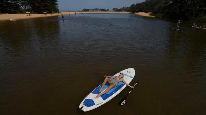 Wish you were here … Elise Chandler chills out on a paddle board in the Terrigal Lagoon on the Central Coast. Picture: Tracey Nearmy