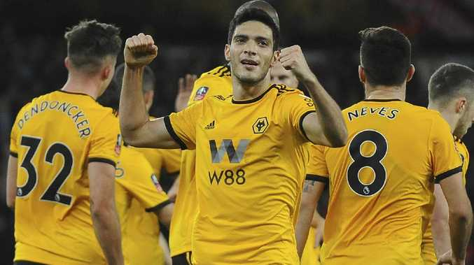 Wolves' Raul Jimenez celebrates after scoring against Liverpool. Picture: AP