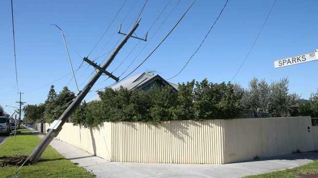 A compromised suburb power pole belong to Melbourne's Powercor after a car hit it. Powercor has not said how much of Melbourne's power is delivered underground. Picture: Peter Ristevski