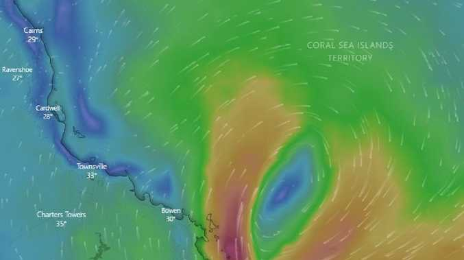 The Bureau of Meteorology said there was a 20-50 per cent chance ex-tropical cyclone Penny could reform before it crosses the coast. Picture: windy.tv