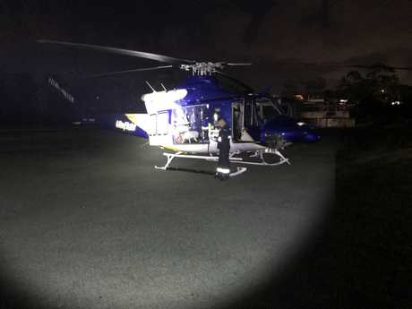 The LifeFlight rescue helicopter airlifted the woman to the Royal Brisbane and Women's Hospital after the crash.
