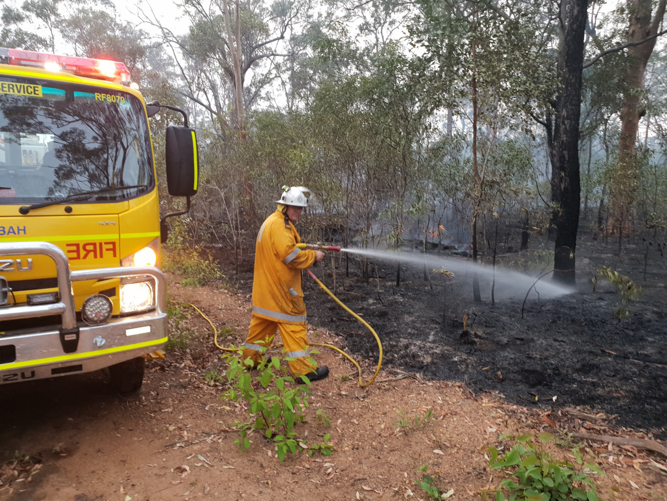 As many as eight crews attended the Takura bushifire earlier today.