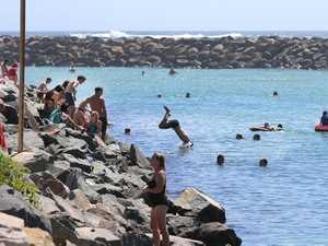 Enjoying the School holidays as many swim at Cudgen