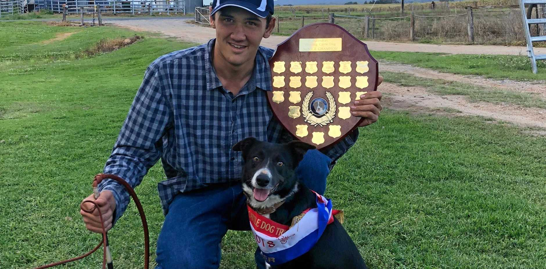 PERFECT MATCH: Ethan Davis with his working dog Jess and their  trophies from the recent NSW and Australian Working Dog titles.