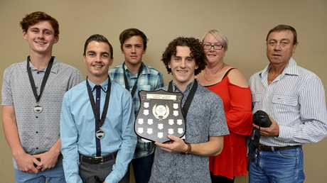 FINALIST: Ethan Davis (middle) at the 2016 Clarence Valley Sports Awards hosted by the GDSC with fellow Junior Male Sportsperson nominees Travis O'Connor and winner Sam Young.