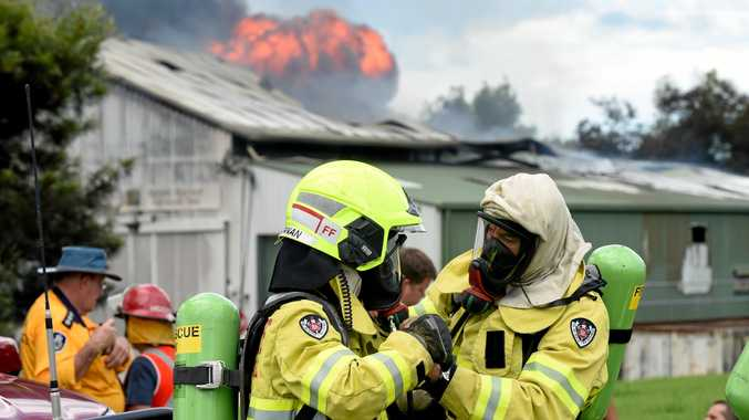 Firefighters at the scene of a fire in Alstonville Industrial Estate.