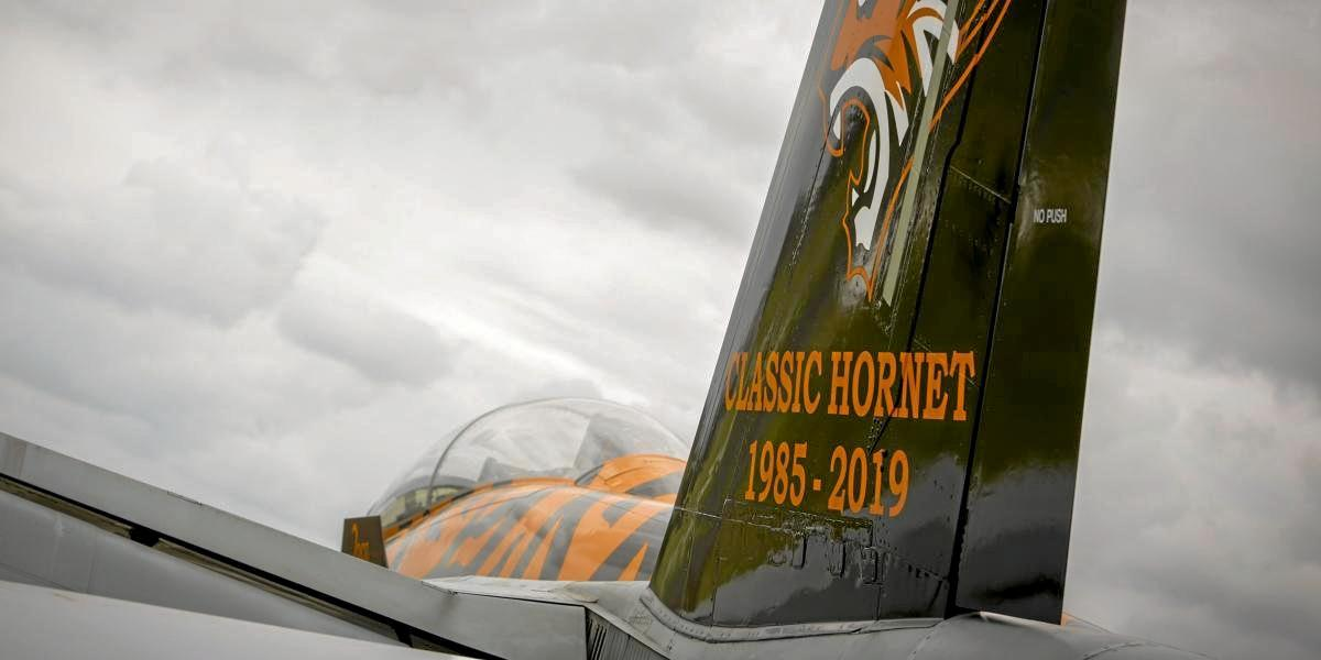 The distinctively painted Royal Australian Air Force F/A-18B Classic Hornet.