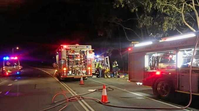 A woman was airlifted to hospital in a critical condition after a car crashed into a tree on Sugar Bag Rd at Caloundra last night.