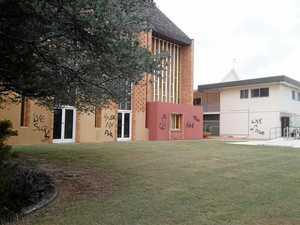 Shocking: Disgraceful words plastered on Bundy church
