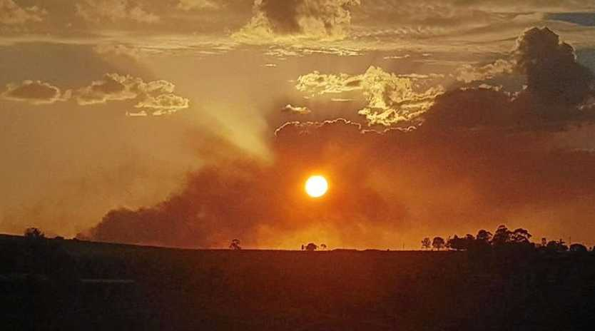 STILL BURNING: Krystal Cook shares a picture of the vegetation fire at Cullendore taken at Killarney.