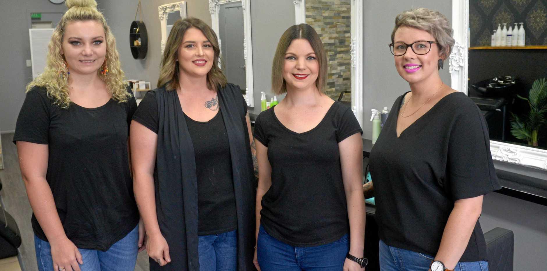GIRL GANG: The girls at Mirror Mirror Hair and Beauty Room, Shanae Titmus, Chinara Hulls, Carmen Thompson and Kate Bimrose