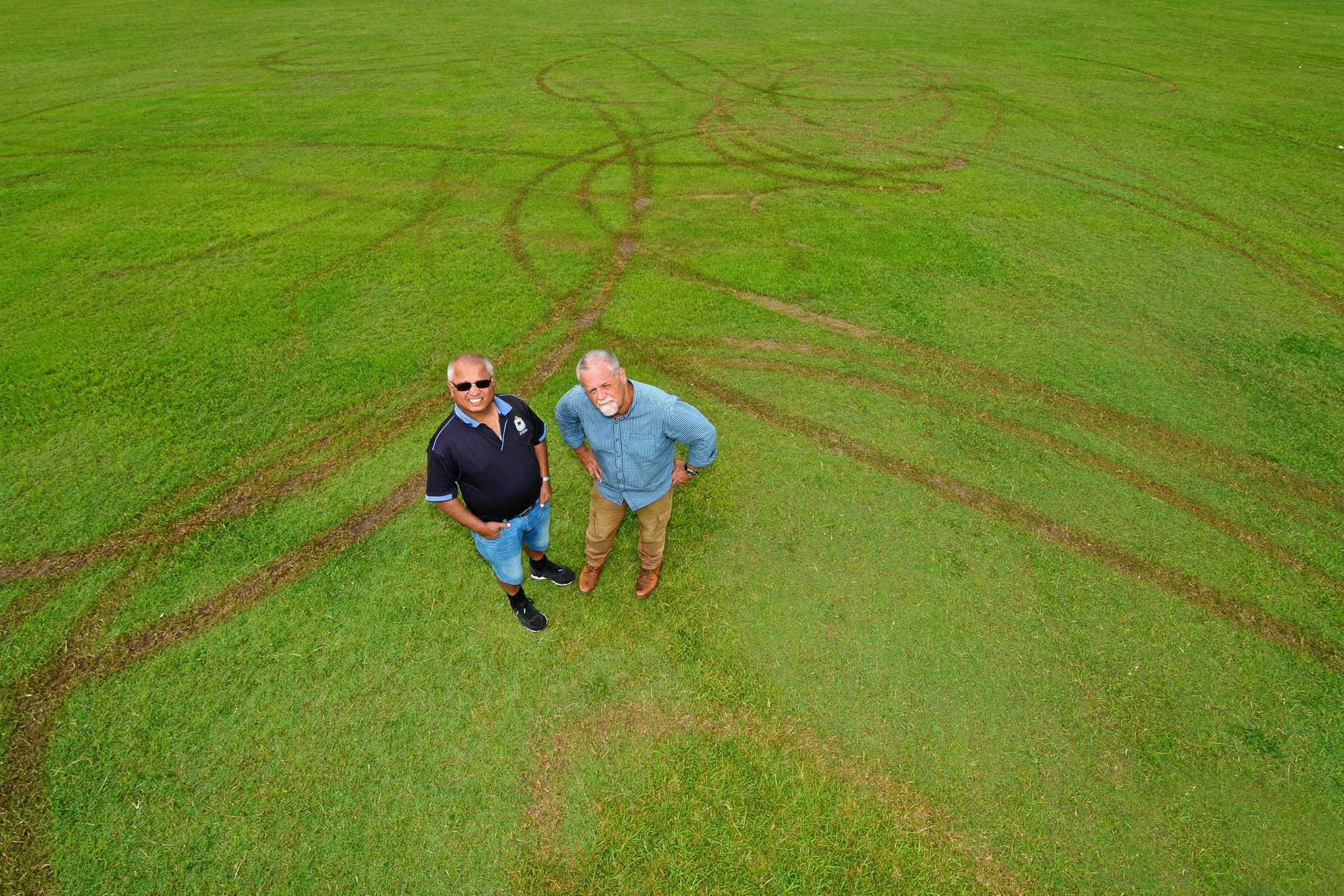 DUMB YOBBOS: Sunshine Coast Hockey Association in Buderim has had one of their hocjkey fields vandalised. Secretary Grendell Antony and Bruce Potts are not impressed.