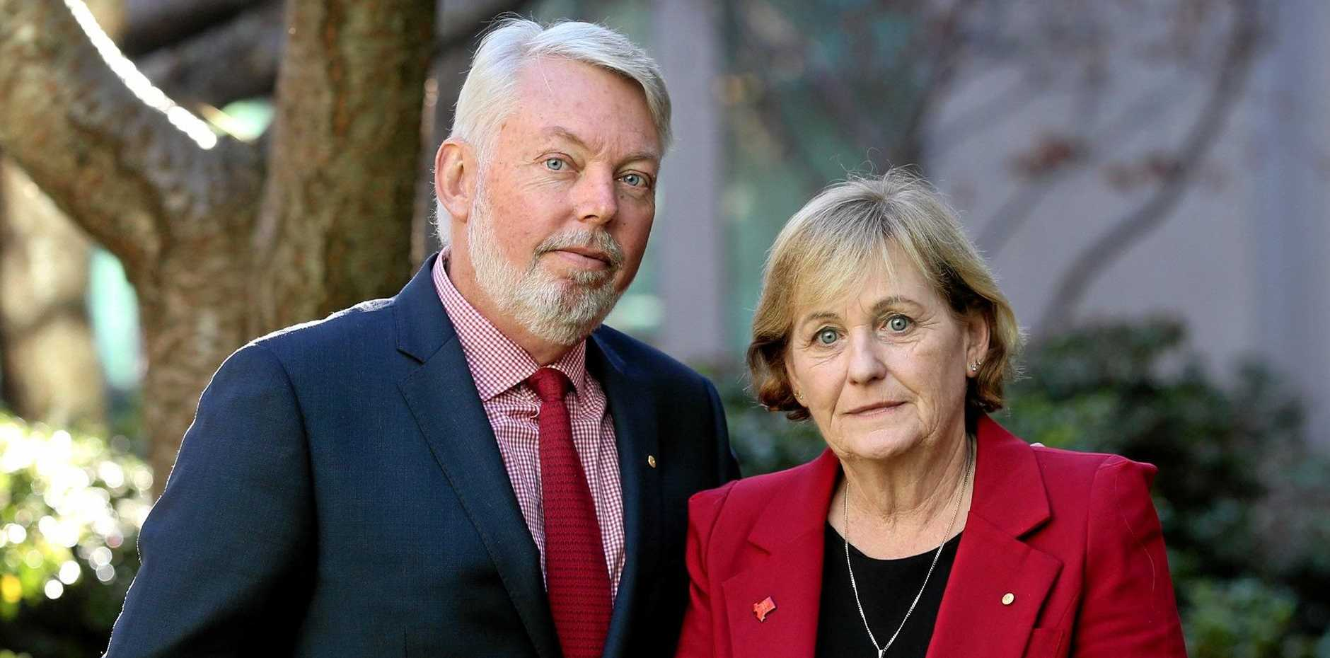 Justice campaigners Bruce and Denise Morcombe at Parliament House in Canberra.