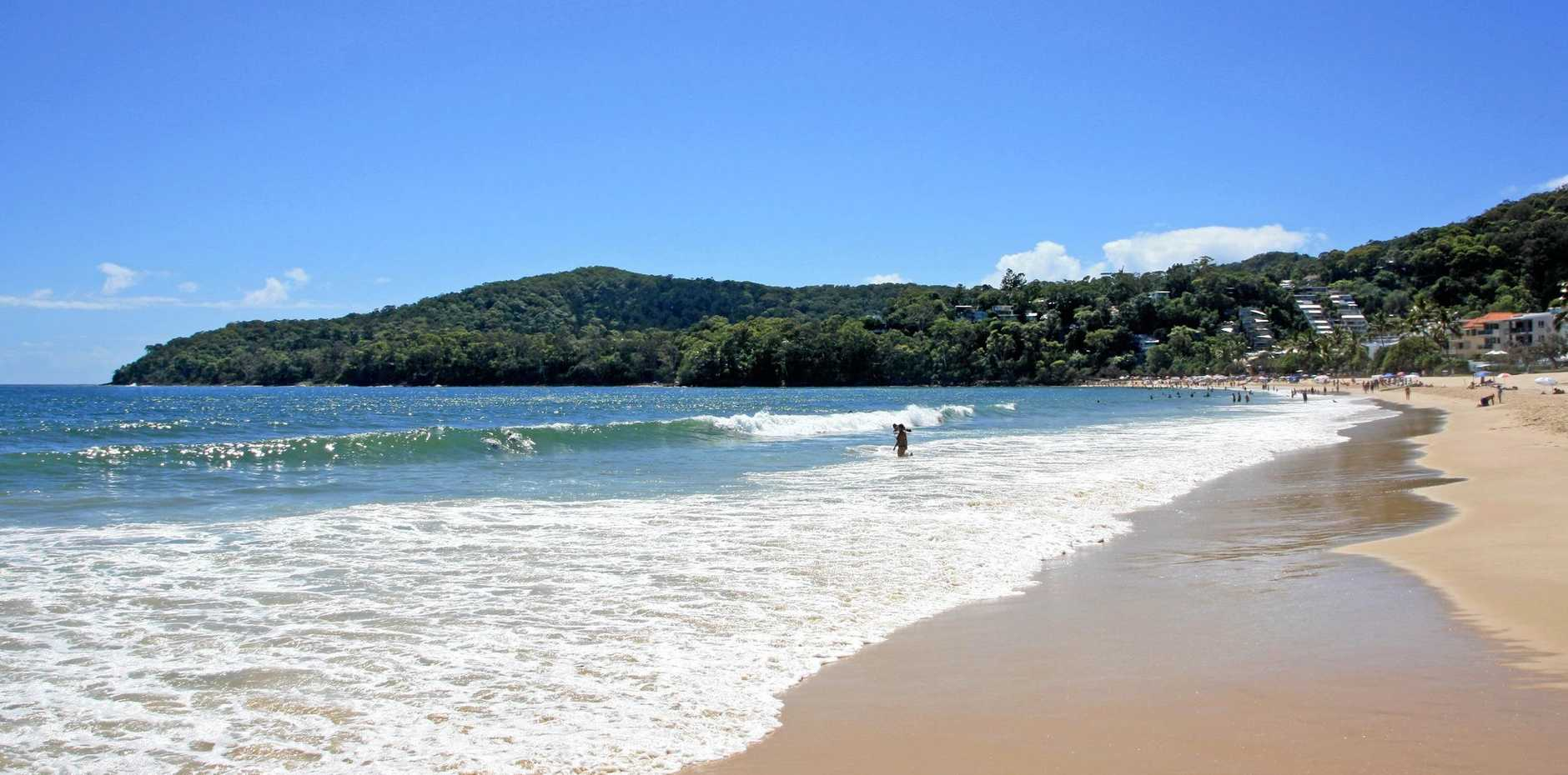A female toddler has been hospitalised after almost drowning at Noosa Heads this morning.