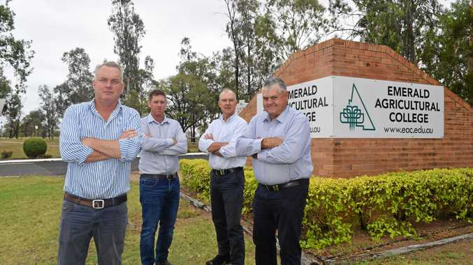 STEP FORWARD: Member for Gregory Lachlan Millar, Cotton Growers Association representative Aaron Keily, Shadow Agricultural Minister Tony Perrett and Ian Burnett, from AgForce, at the Emerald Agricultural College.