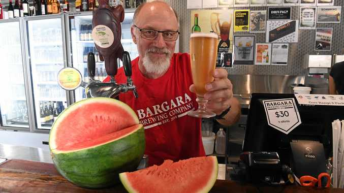 Andrew Clark with the Bargara Brewing Company's watermelon pils.